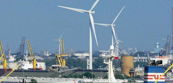 Jack Up Barge in zee met Van Oord Offshore Wind voor windpark Deutsche Bucht